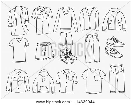 MInimalistic Men clothes and shoes illustrations icons, thin line style on the white background