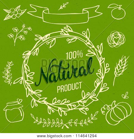 Original Hand Lettering Natural And Hand Draw Eco Food Design Elements.