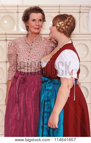 Two generations of women in dirndl