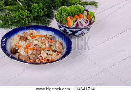Pilau Rice With Meat And Vegetables