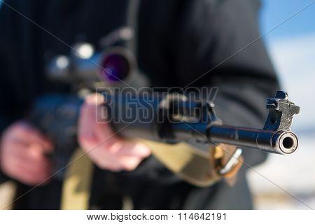 Soldier Or Sniper Holding Gun
