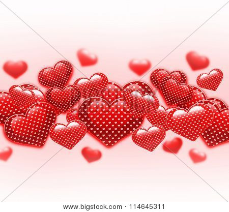 Red beautiful Valentine Day hearts on white background.