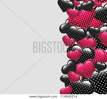 Valentine Day pink and black hearts concept.