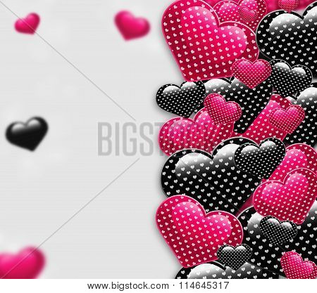 Elegant beautiful black and pink background with shining hearts with pattern and blurred parts.