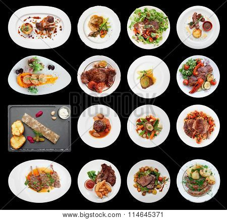 Set of main meat dishes isolated on black background