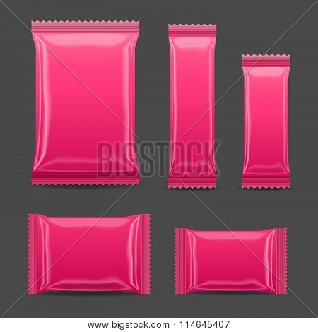 Pink Blank Foil Food Snack Pack For Chips, Spices, Coffee, Salt, And Other Products.