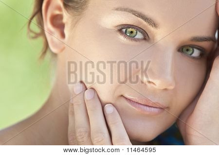 Outdoor Natural Light Portrait Beautiful Woman With Green Eyes