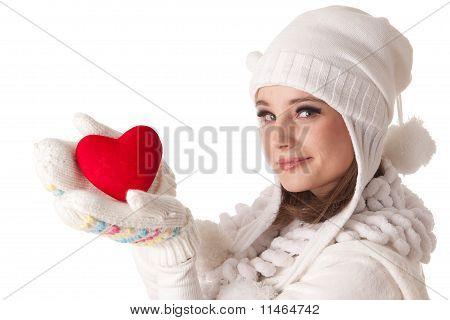 Young Woman with red Heart in Hand