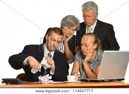 Businesspeople works with  computer