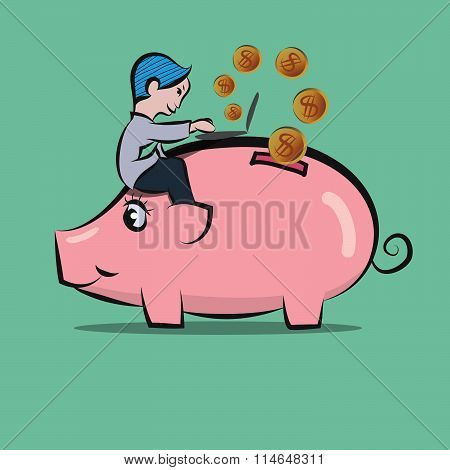 Man Sitting On Piggy Bank And Doing By Using Laptop