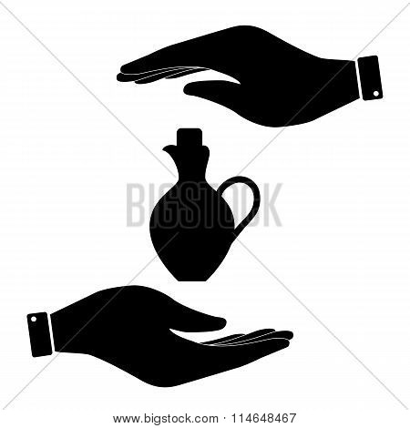 Amphora in hand icon