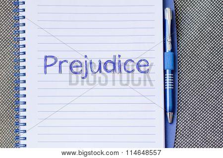 Prejudice Write On Notebook