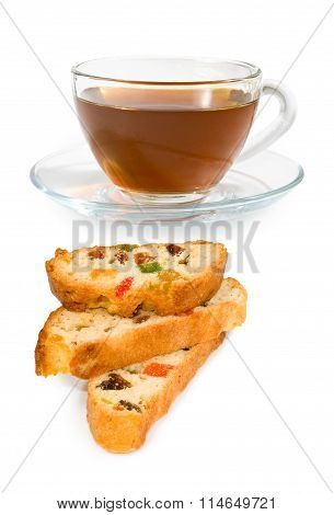 Image Of A Cup Of Tea And Cookies On A White Background