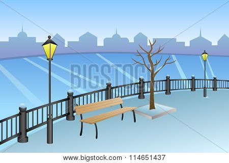 Landscape embankment city winter day river bench lamp illustration vector