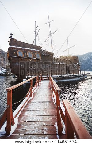 SAYANOGORSK, RUSSIA, DECEMBER 2014 - Entertainment boat for tourist trips, replica to famous Black P
