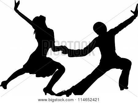 two children, tango dancers passion on the floor
