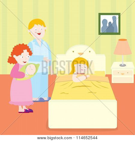 Happy family bedtime