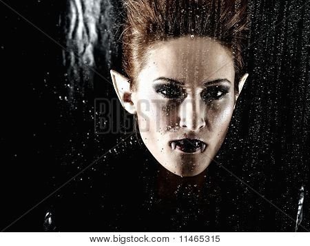 Portrait Horrible Fashion Vampire Woman Behind Rainy Window