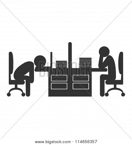 Flat office icon with fizzle out workers isolated on white