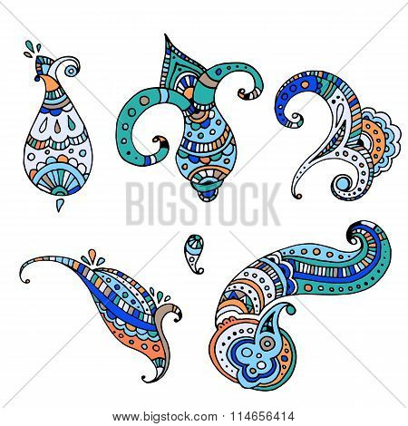 Set of decorative paisley templates for design or mendie