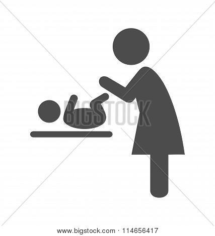 Mother swaddles the baby pictogram flat icon isolated on white