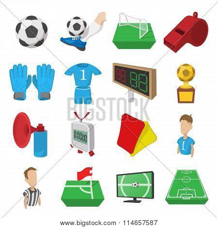 Soccer cartoon icons set