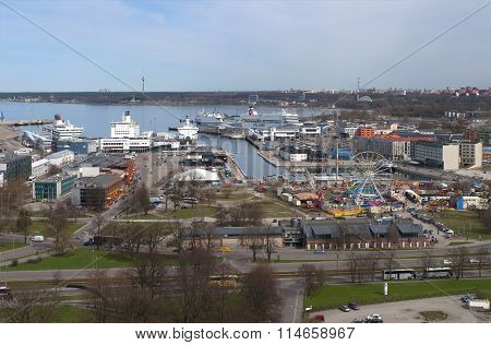 View of the passenger port day in april. Tallinn