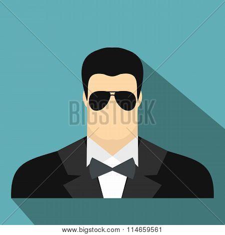 Bodyguard agent man flat icon