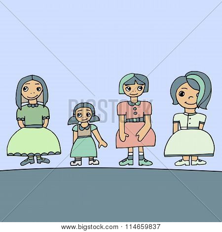 Pale Colored Set Of Four Cute Graphic Hand Drawn Girls