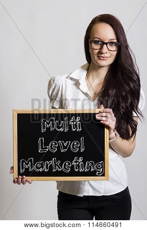 Multi Level Marketing Mlm - Young Businesswoman Holding Chalkboard