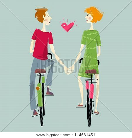 Young Couple In Love, Riding Bikes. Happy Valentine's Day.