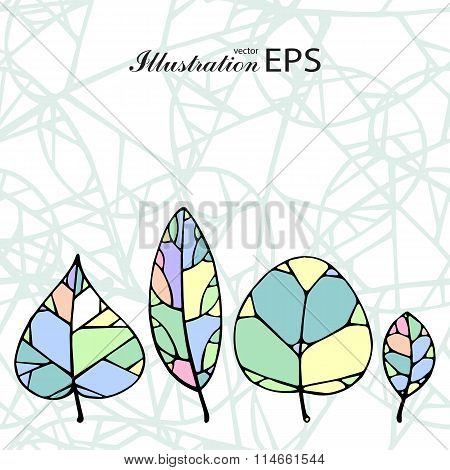 Set Of Four Mint Color Leaves