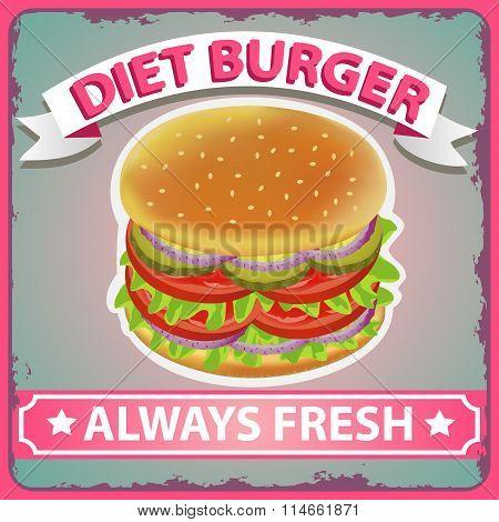 Burger Diet Retro Poster 2