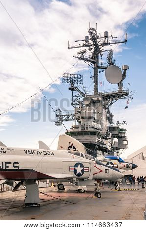 Military Jets In The Navy Ship Uss Intrepid in New York City
