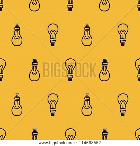 Black Lightbulb Hand Drawn Seamless Pattern