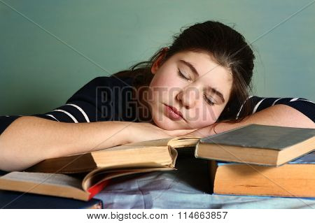 Tired Teenage Girl Sleep Among Books