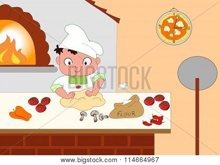 Young pizza maker