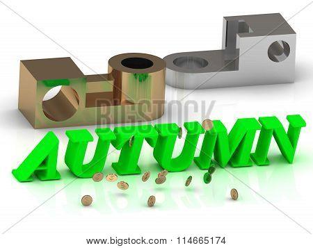 Autumn - Inscription Of Color Letters And Golden Details