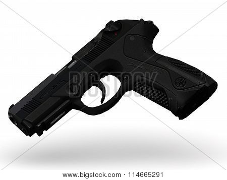 Gun With Pimply Handle Falling Midair