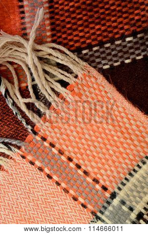 Warm  Colors Of A Handmade Woolen Scarf
