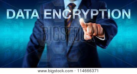 Manager Pushing Data Encryption Onscreen