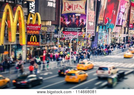 NEW YORK CITY - Croud of people in Times Square, famous street of New York City and US, December 19, 2015 in New York, NY.