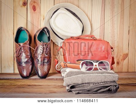 Travel Accessories. Shirts, Jeans, Hats, Shoes, Bag, Belt, Glasses, Ready For The Trip