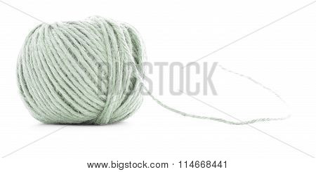 Green Fiber Skein, Sewing Thread Roll Isolated On White Background