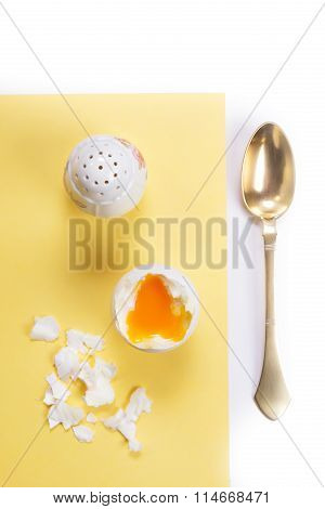 Boiled Egg, Salt Cellar And Brass Spoon