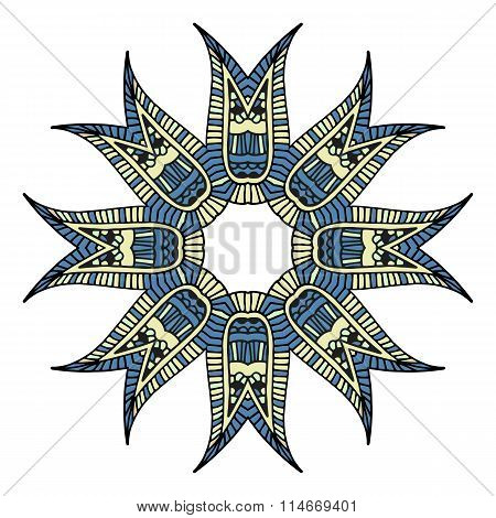 Decorative colored graphic Indian mandala for design or mendie blue and yellow white background