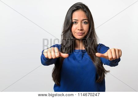 Woman Giving An Equal Thumbs Gesture