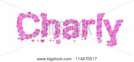Charly Female Name Set With Hearts Type Design