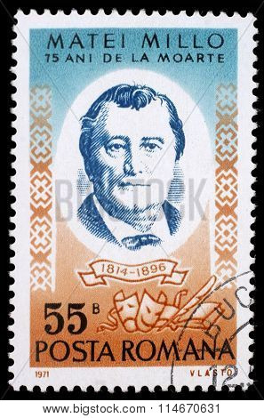 ROMANIA - CIRCA 1971: a stamp printed in Romania shows Matei Millo (1814-1896) Moldavian-born Romanian stage actor and playwright, circa 1971.
