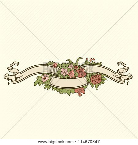Retro-style coloured floral badge for your design